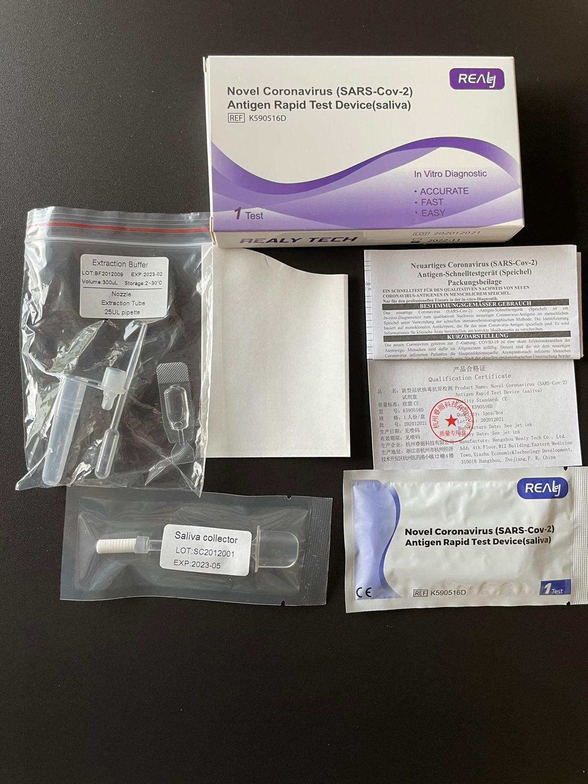 Realy Tech Novel Coronavirus Antigen Lutsch- Spucktest
