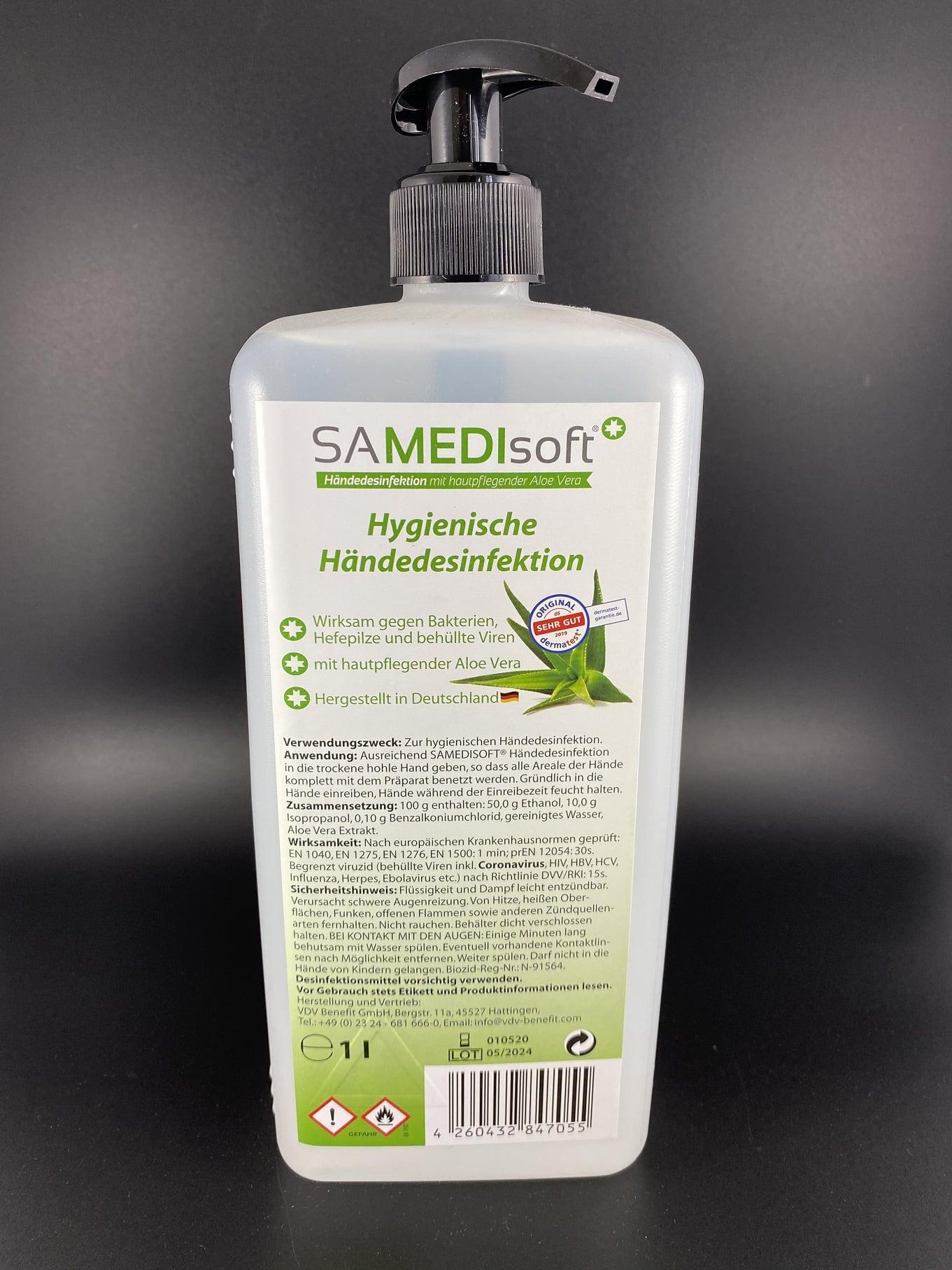 SAMEDIsoft Händedesinfektion mit Aloe Vera 1L