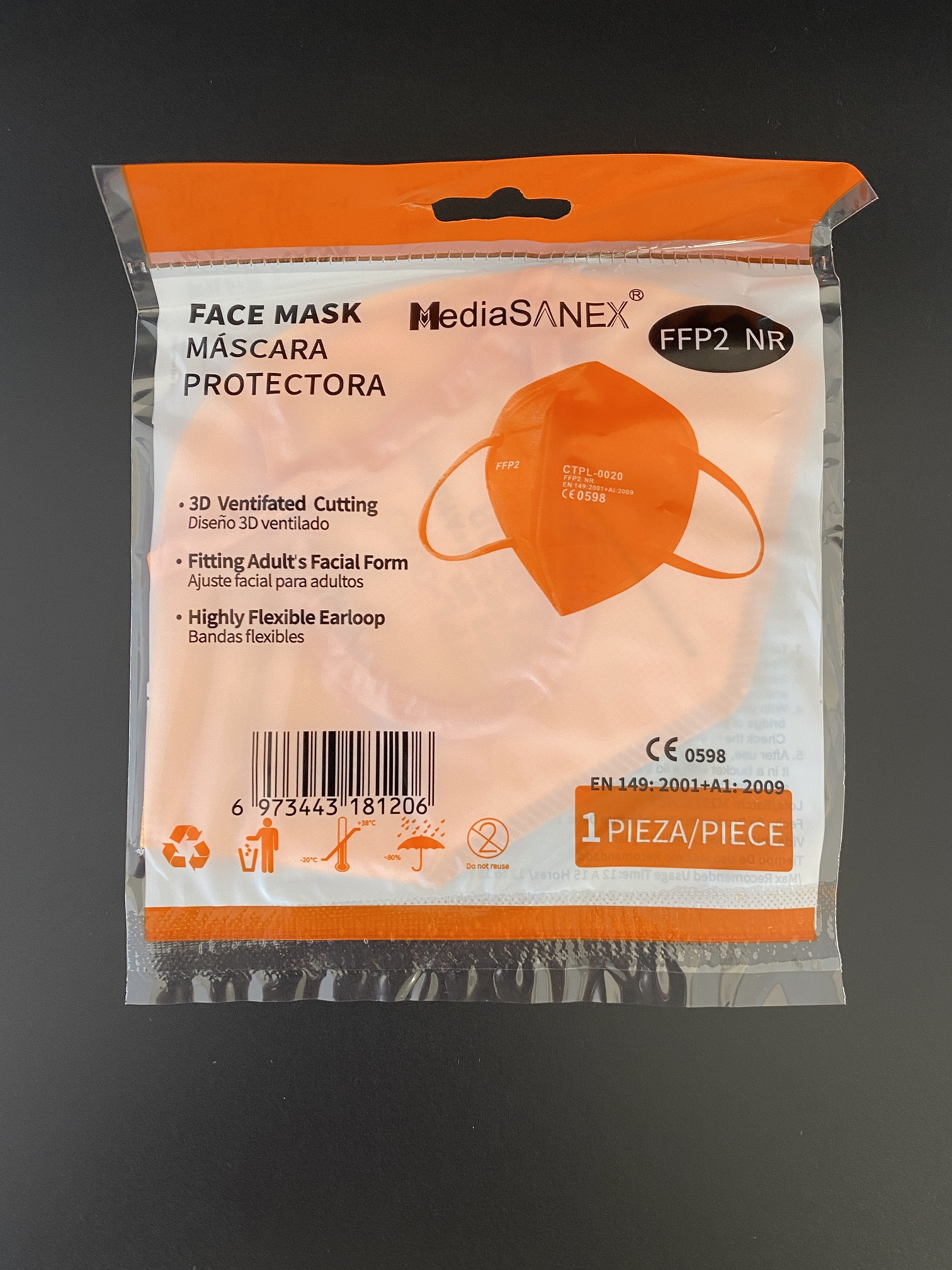 CTPL-0020 FFP2 NR Maske CE0598 5-lagig Orange